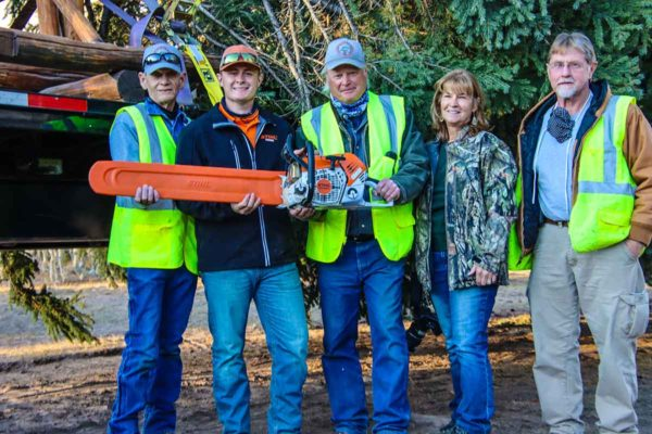 STIHL Inc. presented a STIHL MS 500i chain saw with all needed accessories to the nonprofit Thunder Mountain Wheelers ATV Club (TMW) who felled the 2020 U.S. Capitol Christmas Tree. Left to right: Mike LeMaster, TMW Project Coordinator; STIHL Rep Tyler Windsor; Dave Hanson, TMW Trail Coordinator; Marilyn Liebetrau, TMW President; and Lloyd Liebetrau, TMW.